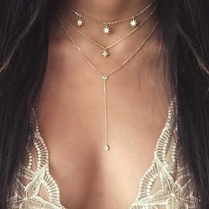Jewelry - Dainty Star Detail Lariats Layered Necklace Gold